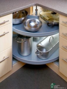 Remodeling services may recommend corner cabinets.
